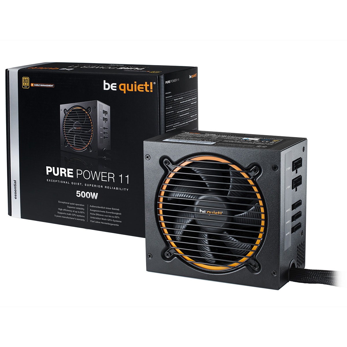 Alimentation PC be quiet! Pure Power 11 500W CM 80PLUS Gold Alimentation modulaire 500W ATX 12V 2.4 (Garantie 5 ans constructeur) - 80PLUS Gold