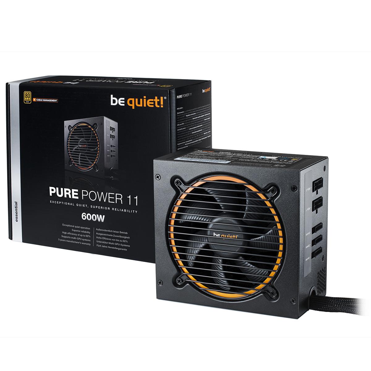 Alimentation PC be quiet! Pure Power 11 600W CM 80PLUS Gold Alimentation modulaire 600W ATX 12V 2.4 (Garantie 5 ans constructeur) - 80PLUS Gold