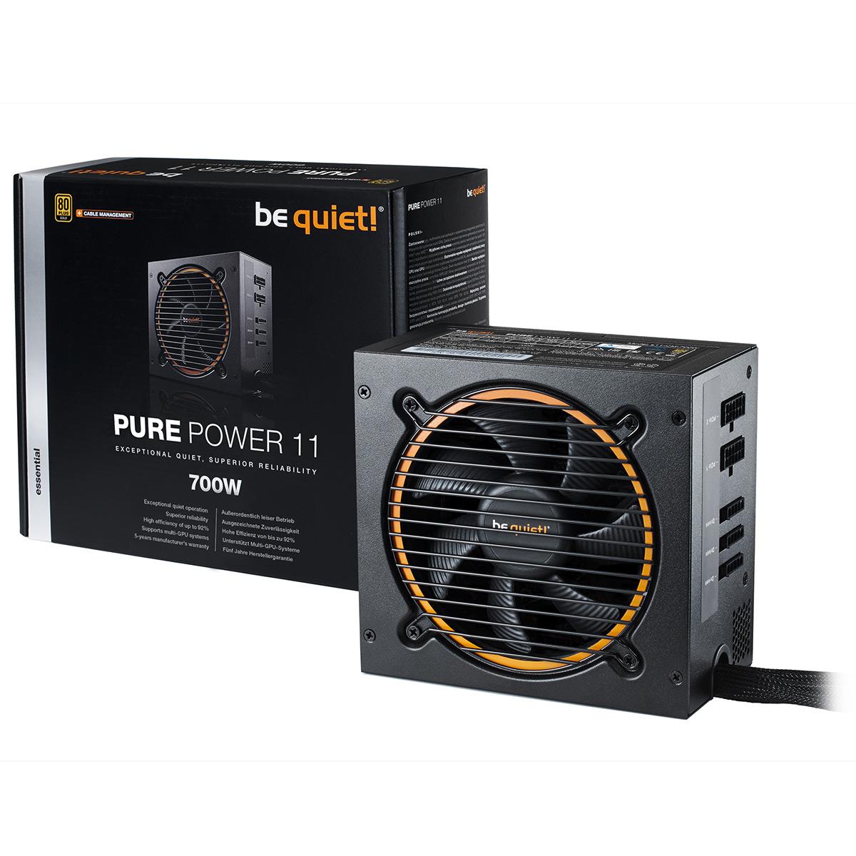Alimentation PC be quiet! Pure Power 11 700W CM 80PLUS Gold Alimentation modulaire 700W ATX 12V 2.4 (Garantie 5 ans constructeur) - 80PLUS Gold