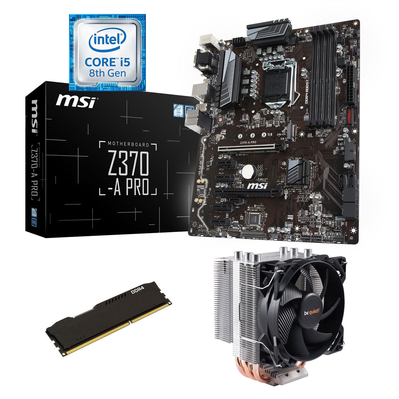 Kit upgrade PC Kit Upgrade PC Core i5 MSI Z370-A PRO 4 Go Carte mère Socket 1151 Intel Z370 Express + CPU Intel Core i5-8400 (2.8 GHz) + RAM 4 Go DDR4
