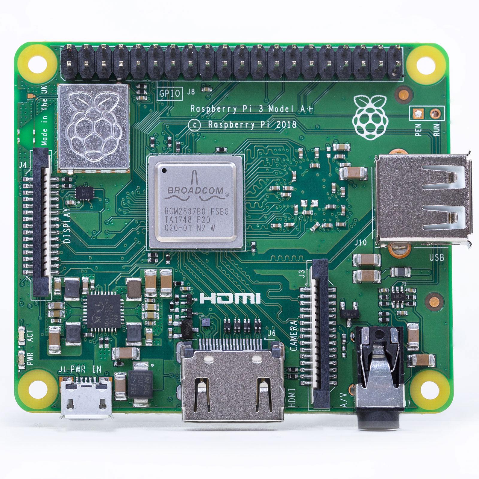 Carte Raspberry Pi Raspberry Pi 3 Model A+ Carte mère ultra-compacte avec processeur ARM Cortex-A53 Quad-Core 1.4 GHz - RAM 512 Mo - HDMI - USB 2.0 - Wi-Fi AC Dual Band - Bluetooth 4.2