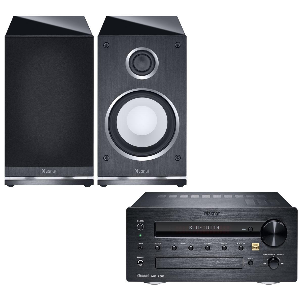 Chaîne Hifi Magnat MC 100 + Quantum Edelstein Micro-chaîne 2 x 35 Watts - Lecteur CD/MP3 - Tuner FM/DAB+ - Hi-Res Audio - Bluetooth aptX + Enceinte bibliothèque (par paire)