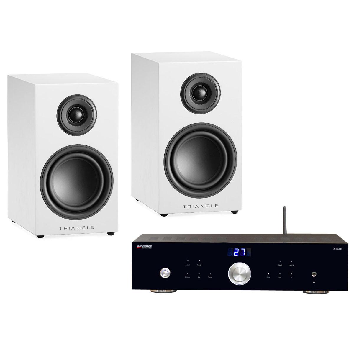 Ensemble Hifi Advance Acoustic X-i50BT + Triangle Elara LN01 Blanc Laqué Amplificateur intégré 2 x 50 Watts avec DAC USB et Bluetooth + Enceinte bibliothèque compacte 50 W Bass-Reflex (par paire)
