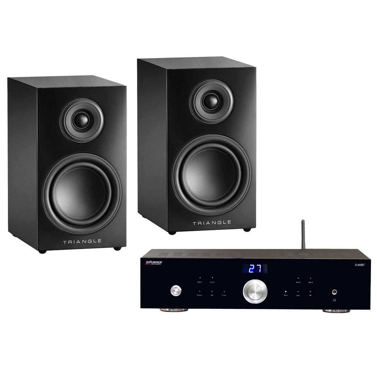 Ensemble Hifi Advance Acoustic X-i50BT + Triangle Elara LN01 Noir Laqué Amplificateur intégré 2 x 50 Watts avec DAC USB et Bluetooth + Enceinte bibliothèque compacte 50 W Bass-Reflex (par paire)