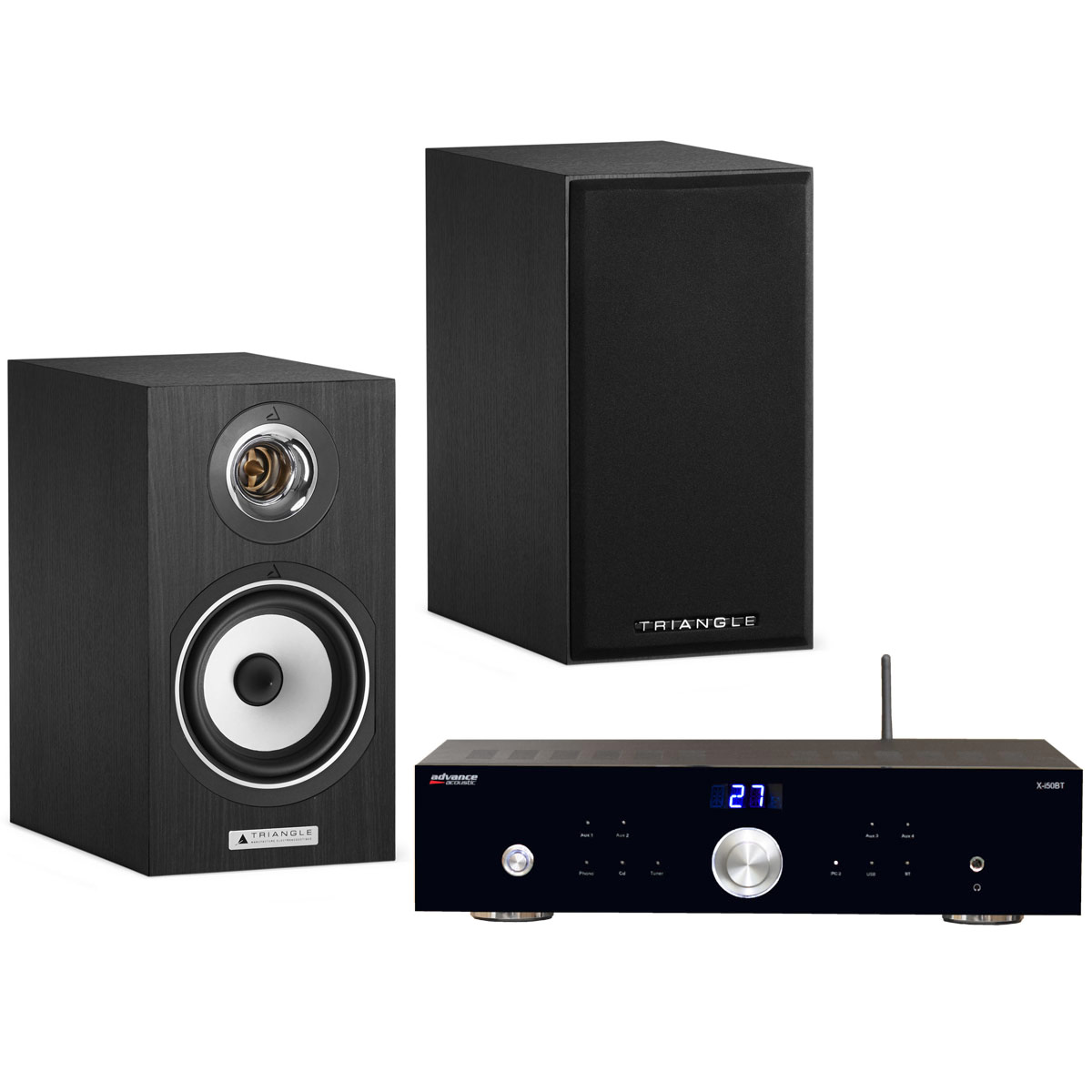 Ensemble Hifi Advance Acoustic X-i50BT + Triangle Titus Ez Black Ash Amplificateur intégré 2 x 50 Watts avec DAC USB et Bluetooth + Enceinte bibliothèque compacte 60 W Bass-Reflex (par paire)