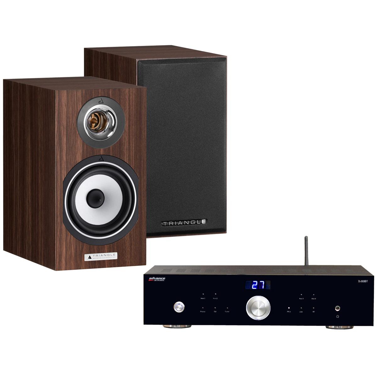 Ensemble Hifi Advance Acoustic X-i50BT + Triangle Titus Ez Noyer Amplificateur intégré 2 x 50 Watts avec DAC USB et Bluetooth + Enceinte bibliothèque compacte 60 W Bass-Reflex (par paire)