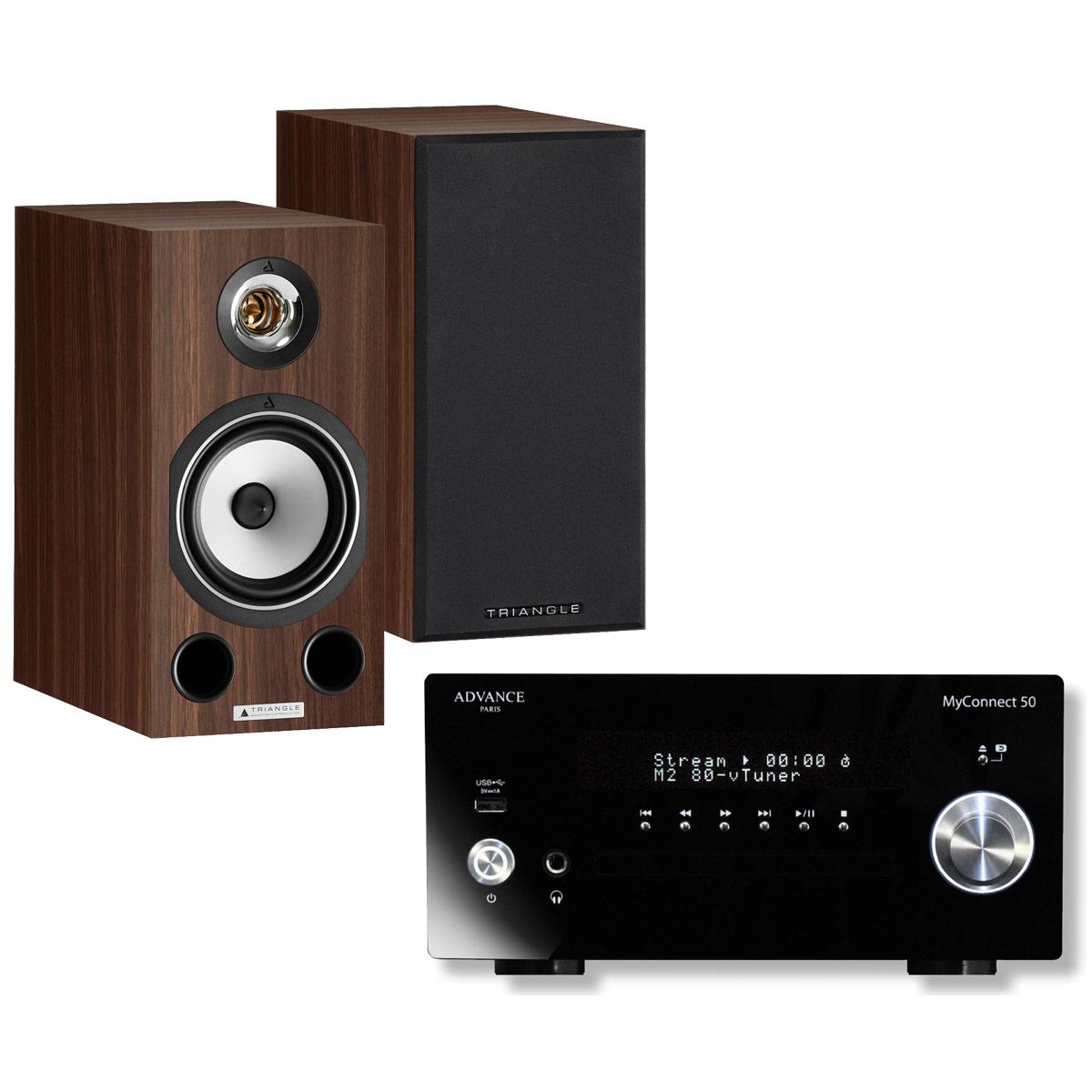 Chaîne Hifi Advance Acoustic MyConnect 50 + Triangle Comète Ez Noyer Micro-chaîne 2 x 70 Watts CD/FM - Wi-Fi/Bluetooth - AirPlay - Multiroom (sans haut-parleurs) + Enceinte bibliothèque compacte 80 W Bass-Reflex (par paire)