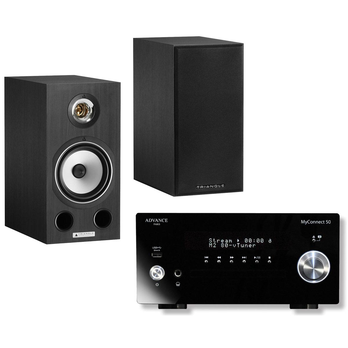 Chaîne Hifi Advance Acoustic MyConnect 50 + Triangle Comète Ez Black Ash Micro-chaîne 2 x 70 Watts CD/FM - Wi-Fi/Bluetooth - AirPlay - Multiroom (sans haut-parleurs) + Enceinte bibliothèque compacte 80 W Bass-Reflex (par paire)