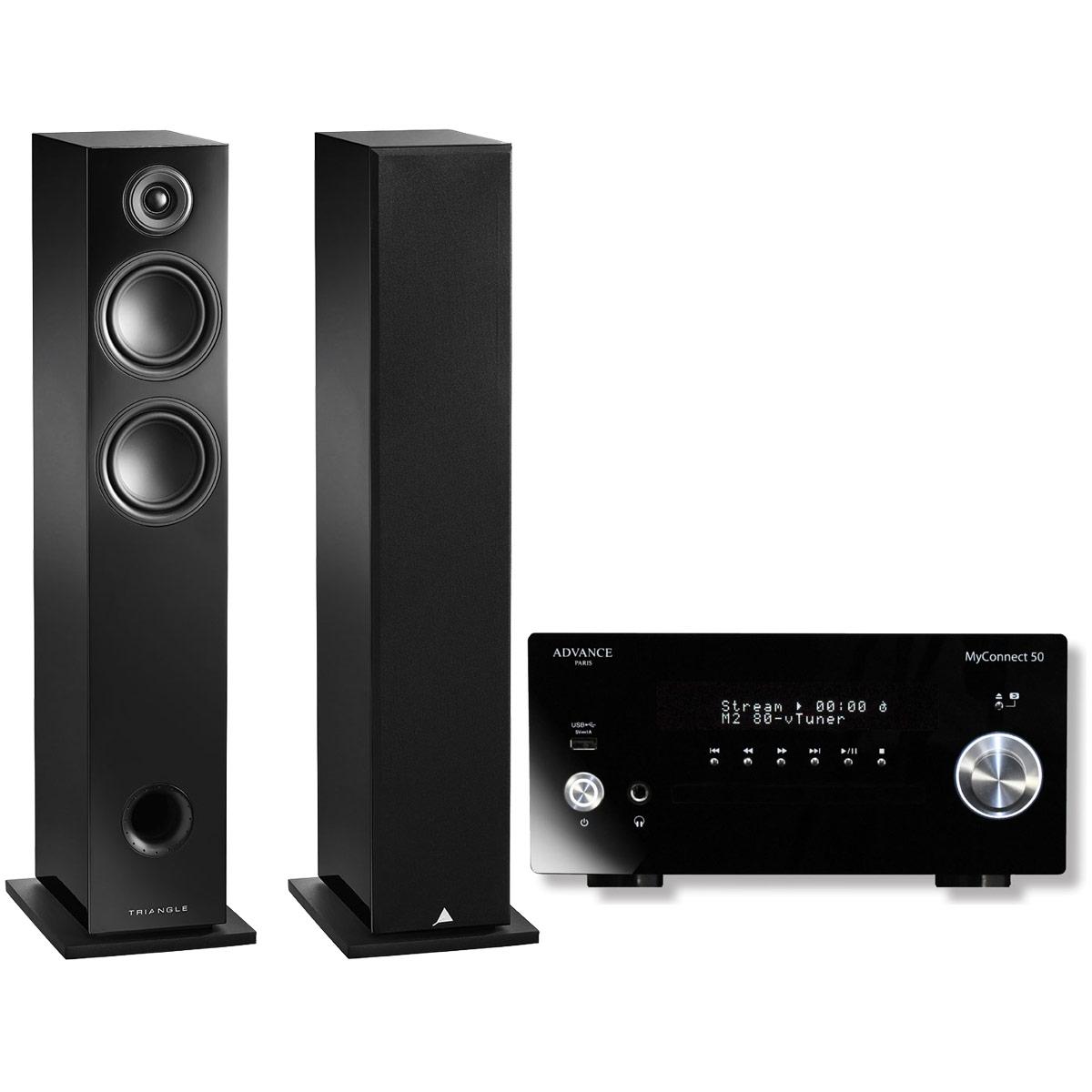 Chaîne Hifi Advance Acoustic MyConnect 50 + Triangle Elara LN05 Noir Laqué Micro-chaîne 2 x 70 Watts CD/FM - Wi-Fi/Bluetooth - AirPlay - Multiroom (sans haut-parleurs) + Enceinte colonne 90 W Bass-Reflex (par paire)