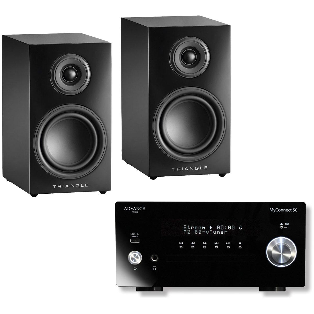 Chaîne Hifi Advance Acoustic MyConnect 50 + Triangle Elara LN01 Noir Laqué Micro-chaîne 2 x 70 Watts CD/FM - Wi-Fi/Bluetooth - AirPlay - Multiroom (sans haut-parleurs) + Enceinte bibliothèque compacte 50 W Bass-Reflex (par paire)