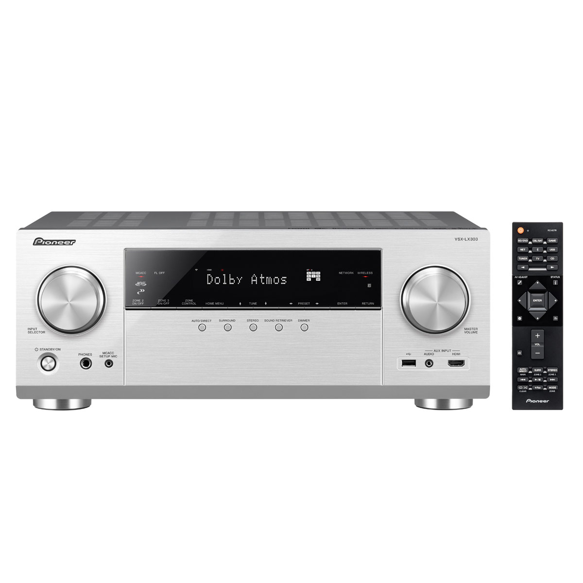 Ampli home cinéma Pioneer VSX-LX303 Argent Ampli-tuner Home Cinéma 9.2 170 Watts Multiroom, Dolby Atmos, DTS:X, HDMI 4K UHD, HDCP 2.2, HDR, Hi-Res Audio, Wi-Fi Dual Band, Bluetooth, Chromecast, DTS Play-Fi, AirPlay