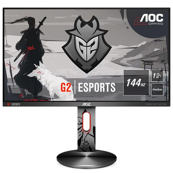 """Ecran PC AOC 24.5"""" LED - G2590PX/G2 1920 x 1080 pixels - 1 ms (gris à gris) - Format large 16/9 - FreeSync - 144 Hz - Pivot - DisplayPort - HDMI - Hub USB - Noir/Argent"""