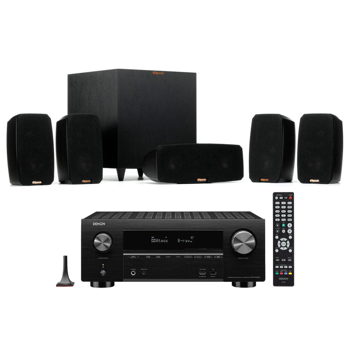 Ensemble home cinéma Denon AVR-X3500H Noir + Klipsch Reference Theater Pack Ampli-tuner Home Cinema 3D Ready 7.2 - Dolby Atmos / DTS:X - 8x HDMI 4K Ultra HD, HDCP 2.2, HDR - Wi-Fi, Bluetooth, AirPlay 2 - Multiroom - Amazon Alexa + Pack d'enceintes 5.1 avec caisson de basses sans fil