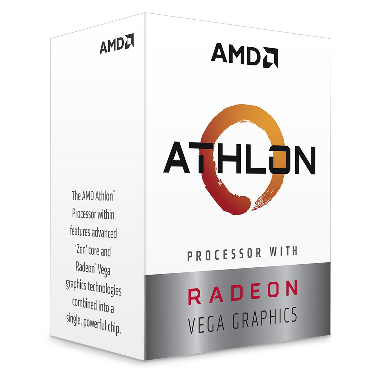 Processeur AMD Athlon 200GE (3.2 GHz) Processeur Dual Core socket AM4 Cache L3 4 Mo Radeon Vega Graphics 3 Coeurs 0.014 micron TDP 35W avec système de refroidissement (version boîte - garantie constructeur 3 ans)