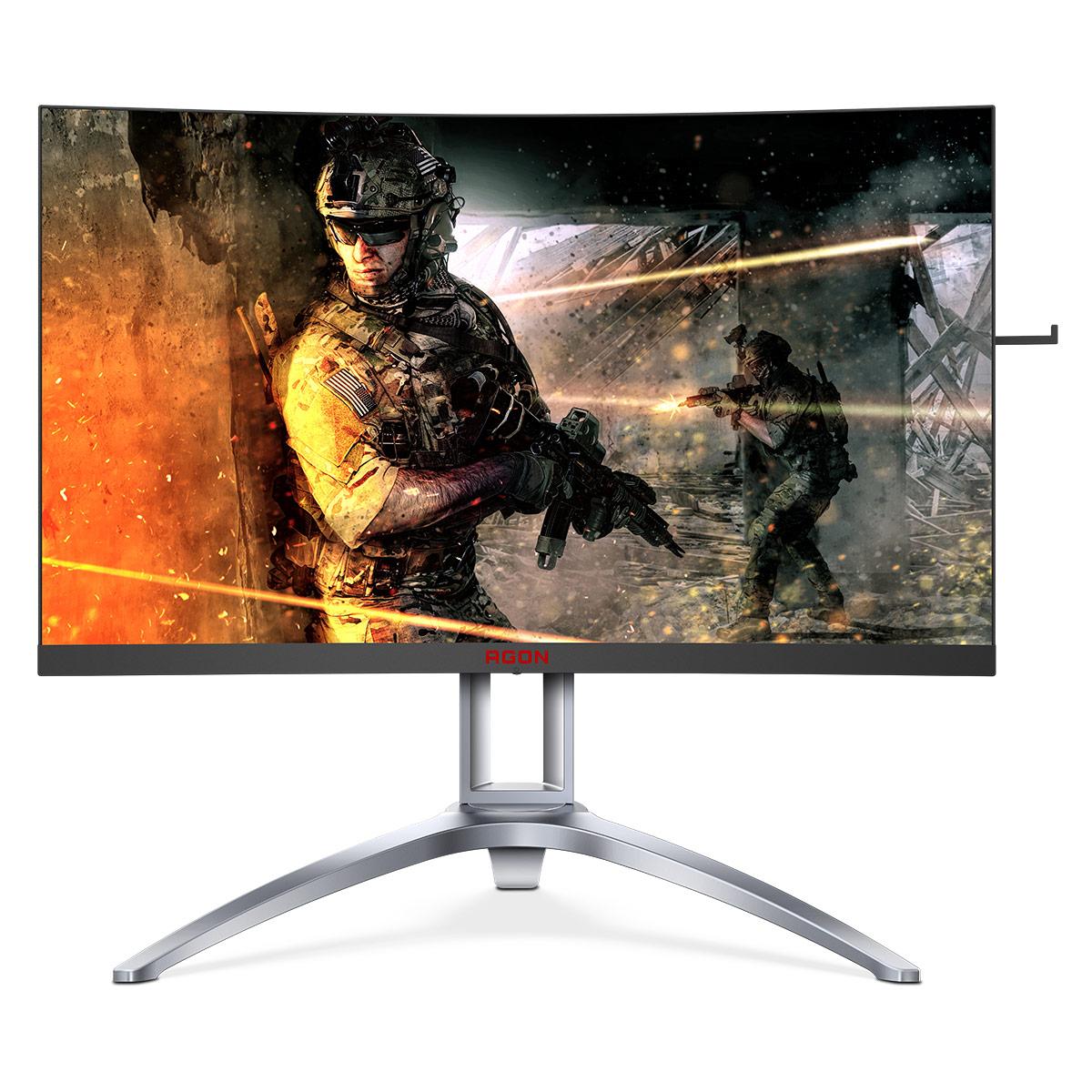 "Ecran PC AOC 27"" LED - AGON AG273QCX 2560 x 1440 pixels - 1 ms (MPRT) - Format large 16/9 - Dalle VA incurvée - 144 Hz - HDR - DisplayPort - HDMI - FreeSync2 - Hub USB 3.0 - Argent/Noir"