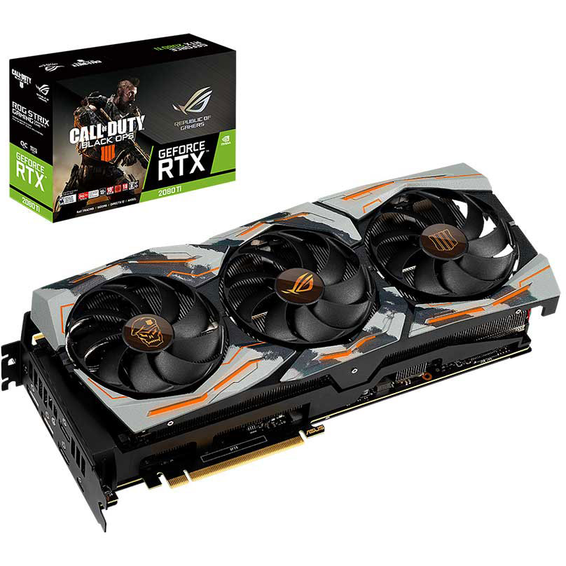 Carte graphique ASUS GeForce RTX 2080 Ti COD-BO4-ROG-STRIX-RTX2080TI - Edition Limitée Call of Duty Black Ops IIII 11 Go GDDR6 - HDMI/DisplayPort/USB Type-C - PCI Express (NVIDIA GeForce RTX 2080 Ti) avec code de jeu Call of Duty Black Ops IIII