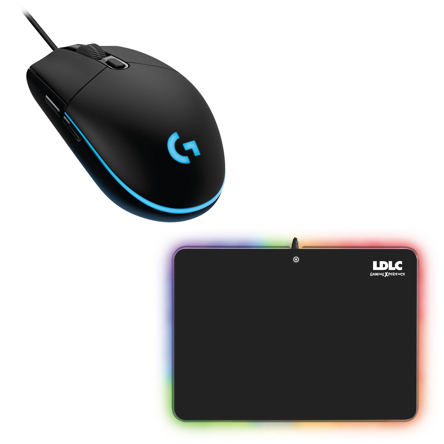 Souris PC Logitech G203 Prodigy Gaming Mouse + LDLC RGB PAD Souris filaire pour gamer - droitier - capteur optique 6000 dpi - 6 boutons programmables - rétro-éclairage RGB + Tapis de souris rigide Gamer LED RGB - Taille M (358 x 256 mm) - USB