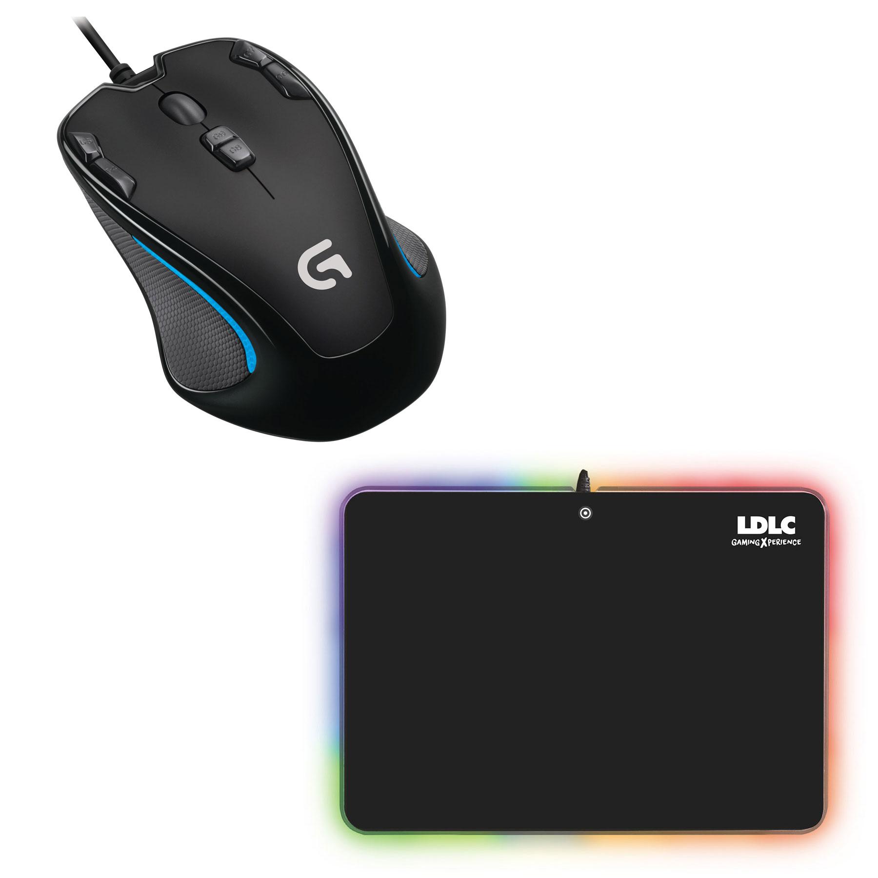 Souris PC Logitech Gaming Mouse G300s + LDLC RGB PAD Souris filaire pour gamer - droitier - capteur optique 2500 dpi - 9 boutons programmables + Tapis de souris rigide Gamer LED RGB - Taille M (358 x 256 mm) - USB