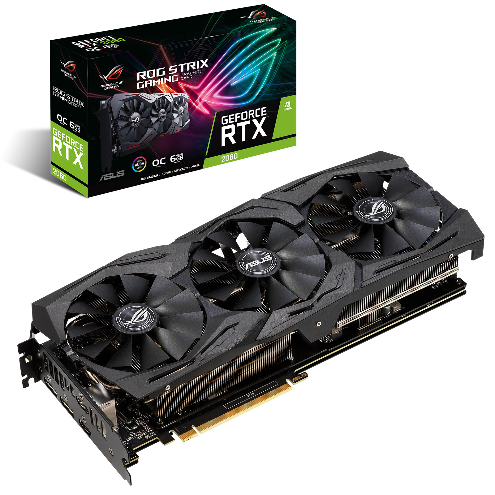 Carte graphique ASUS GeForce RTX 2060 ROG-STRIX-RTX2060-O6G-GAMING 6 Go GDDR6 - Dual HDMI/Dual DisplayPort - PCI Express (NVIDIA GeForce RTX 2060)