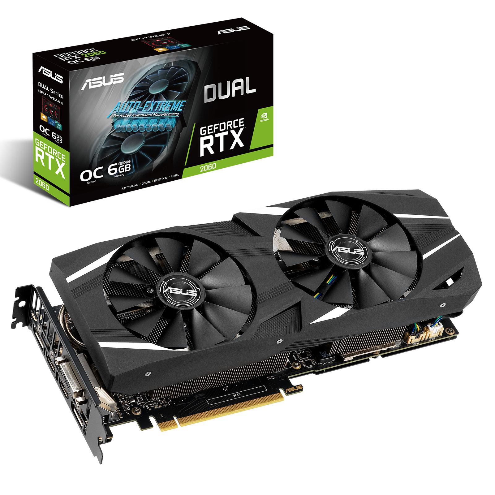 Carte graphique ASUS GeForce RTX 2060 DUAL-RTX2060-O6G 6 Go GDDR6 - Dual HDMI/Dual DisplayPort/DVI - PCI Express (NVIDIA GeForce RTX 2060)