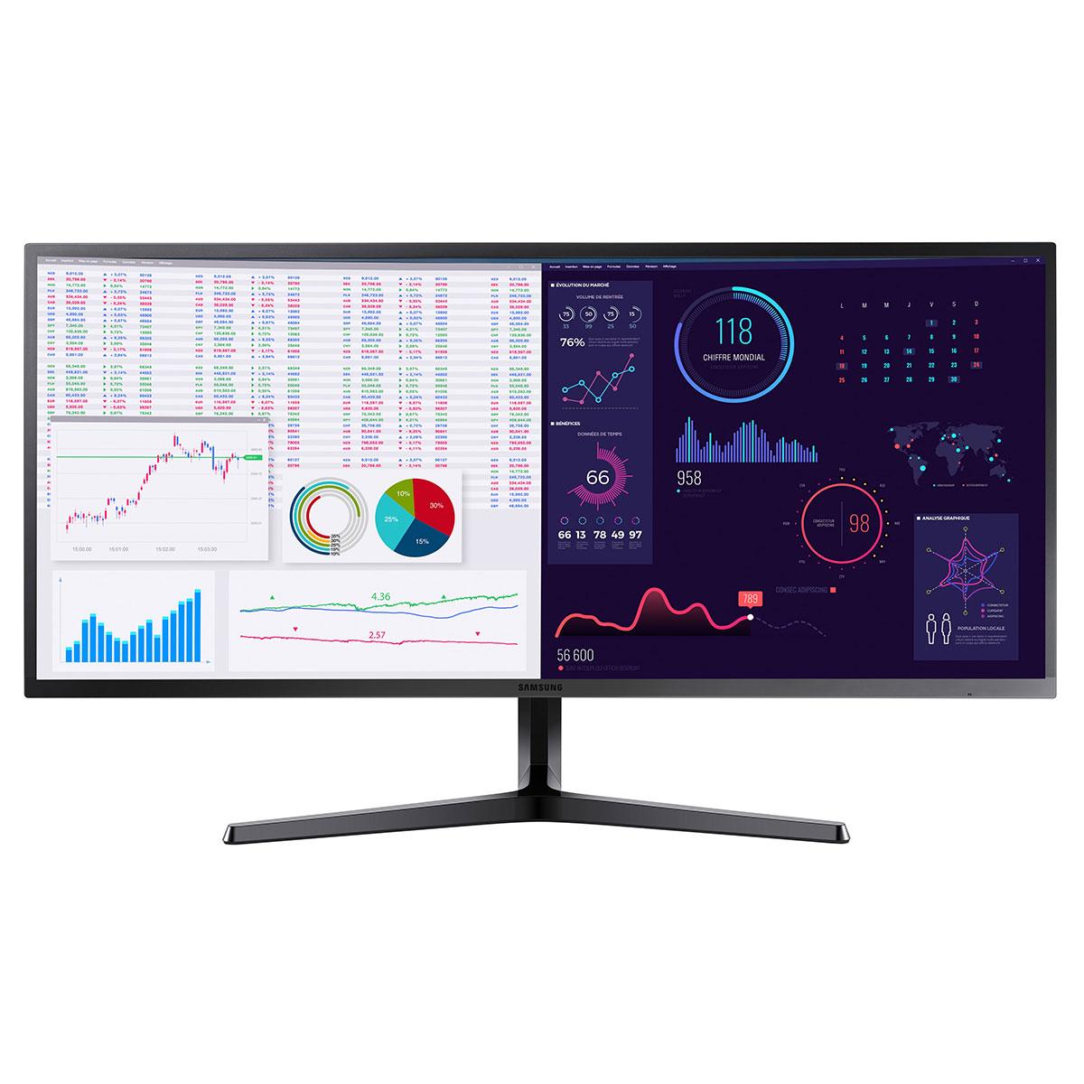 """Ecran PC Samsung 34.1"""" LED - LS34J550WQUXEN 3440 x 1440 pixels - 4 ms (gris à gris) - Format large 21/9 - Dalle VA - AMD FreeSync - HDMI/DisplayPort - Noir"""