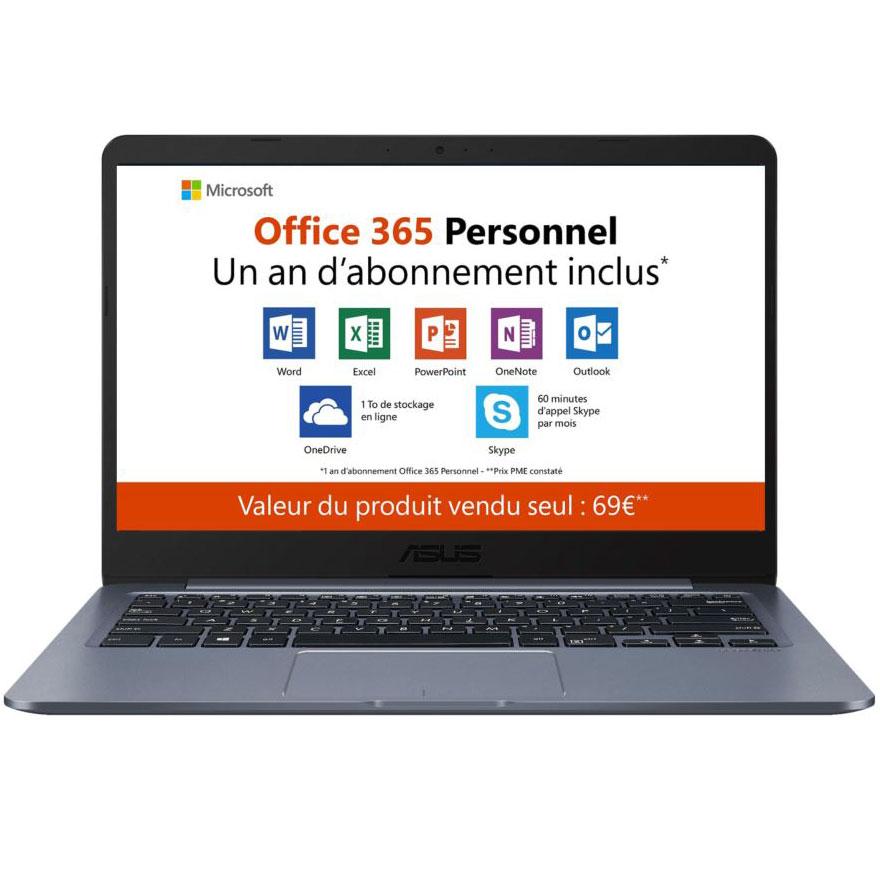 "PC portable ASUS E406MA-BV224TS Intel Celeron N4000 4 Go eMMC 64 Go 14"" LED HD Wi-Fi N/Bluetooth Webcam Windows 10 Famille en mode S (garantie constructeur 2 ans)"