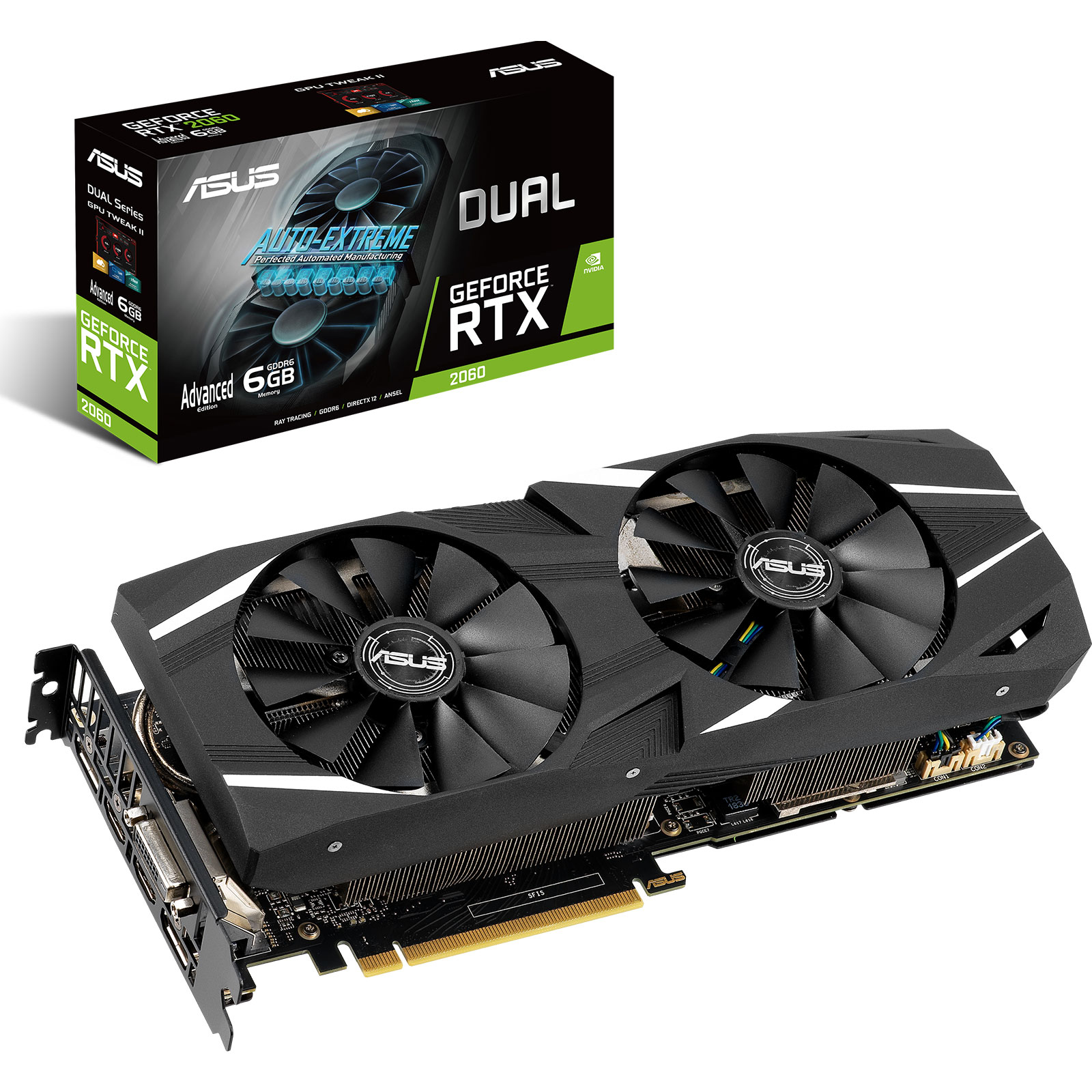 Carte graphique ASUS GeForce RTX 2060 DUAL-RTX2060-A6G 6 Go GDDR6 - Dual HDMI/Dual DisplayPort/DVI - PCI Express (NVIDIA GeForce RTX 2060)