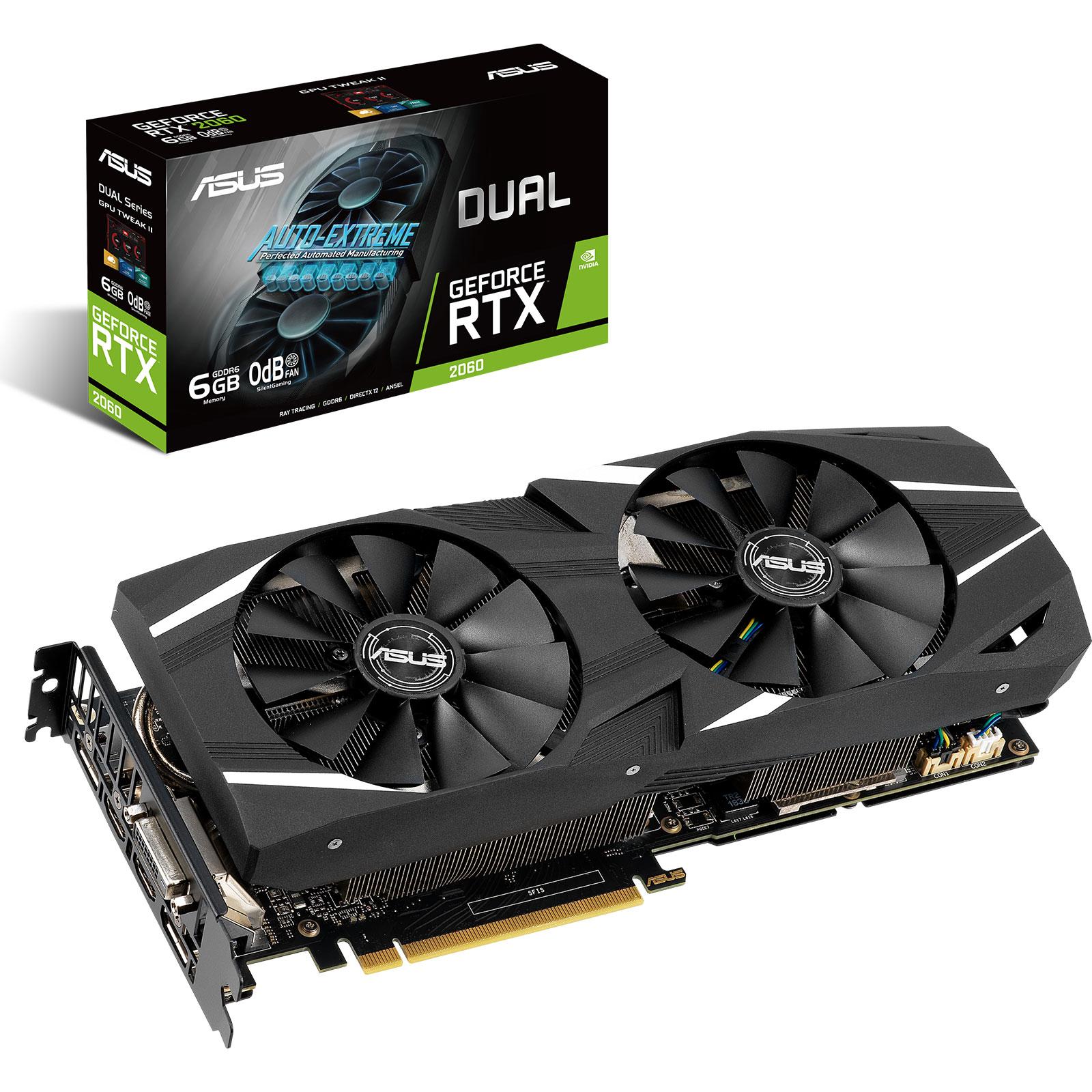 Carte graphique ASUS GeForce RTX 2060 DUAL-RTX2060-6G 6 Go GDDR6 - Dual HDMI/Dual DisplayPort/DVI - PCI Express (NVIDIA GeForce RTX 2060)