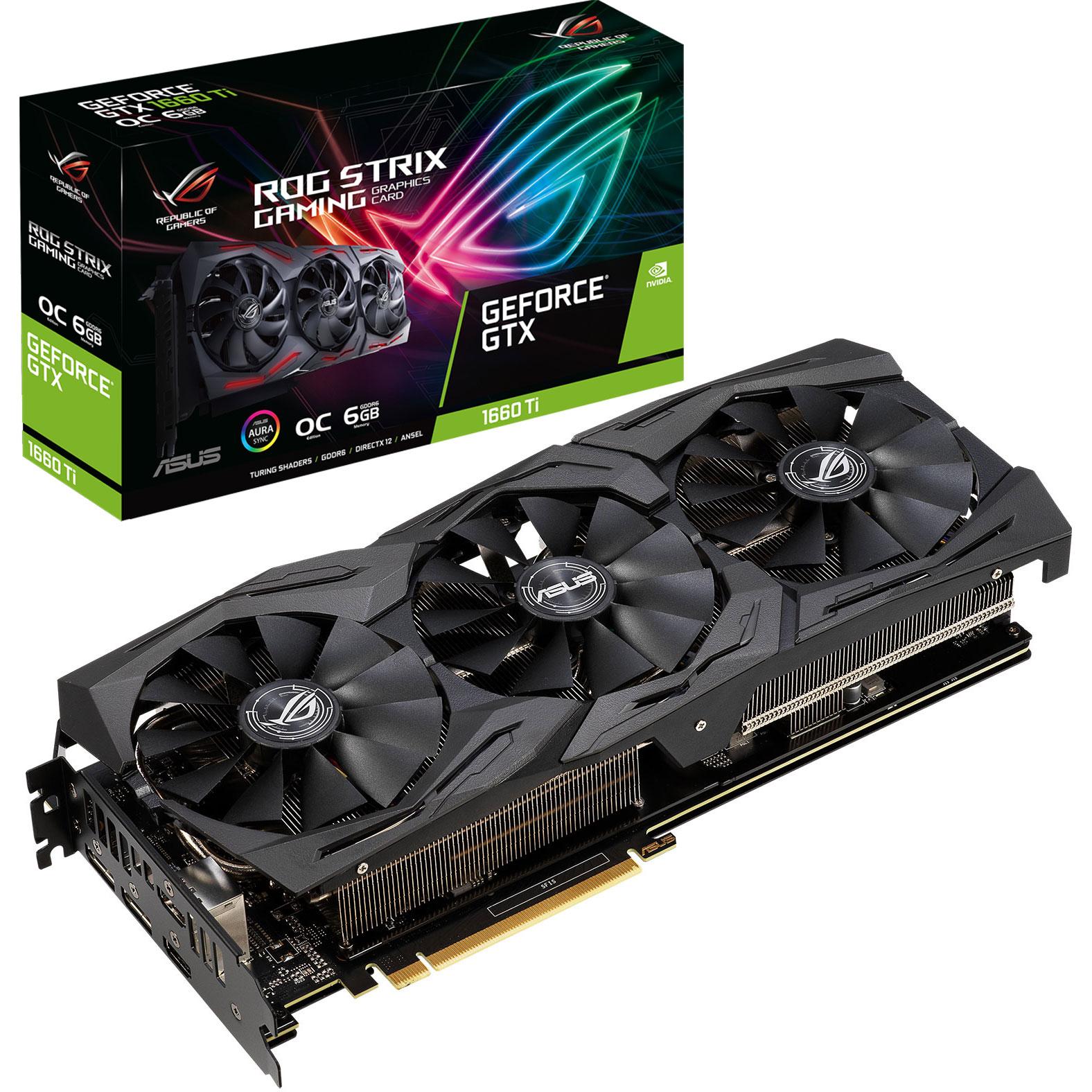 Carte graphique ASUS GeForce GTX 1660 Ti ROG-STRIX-GTX1660TI-O6G-GAMING 6 Go GDDR6 - Dual HDMI/Dual DisplayPort - PCI Express (NVIDIA GeForce GTX 1660 Ti)
