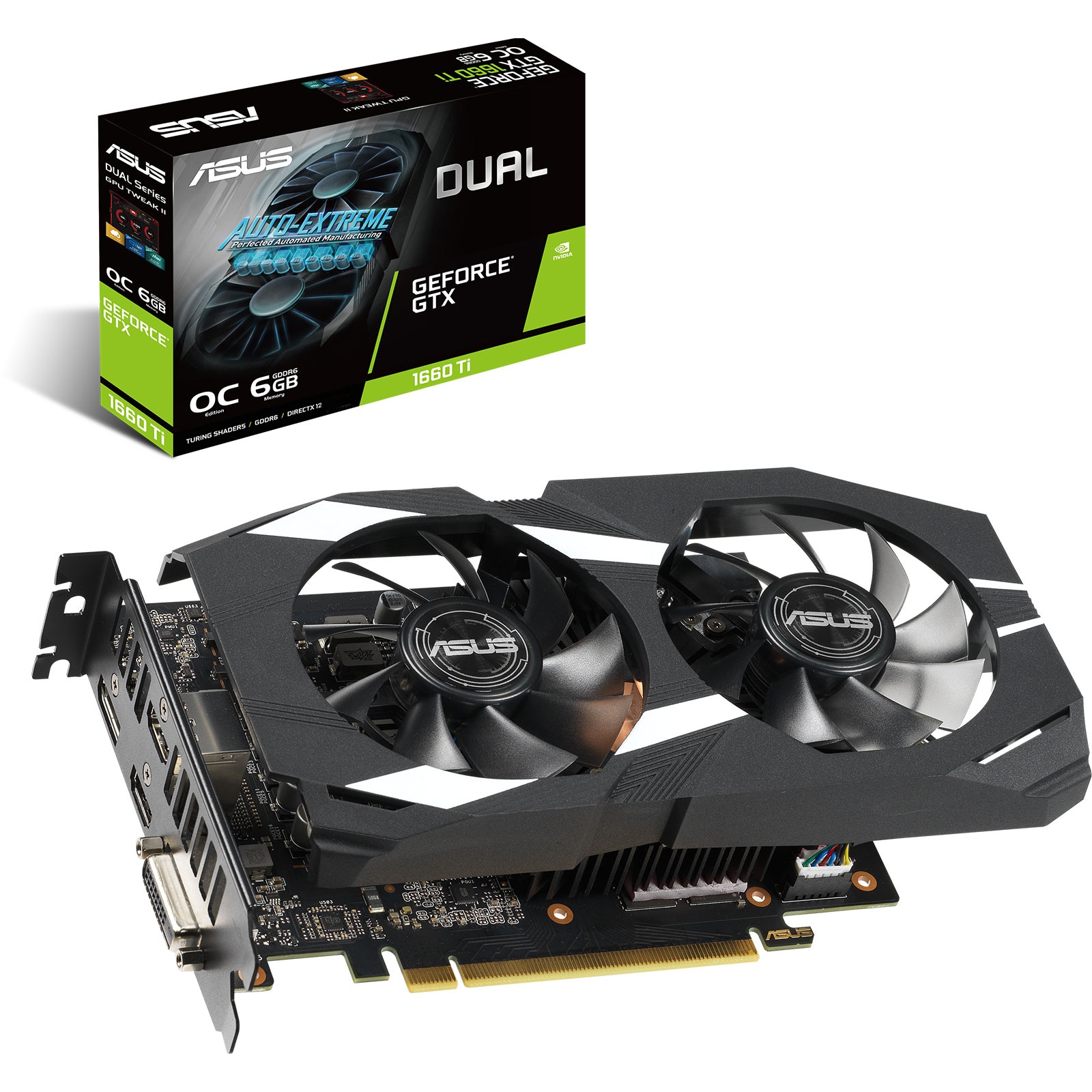 Carte graphique ASUS GeForce GTX 1660 Ti DUAL-GTX1660TI-O6G 6 Go GDDR6 - Dual HDMI/DVI/DisplayPort - PCI Express (NVIDIA GeForce GTX 1660 Ti)