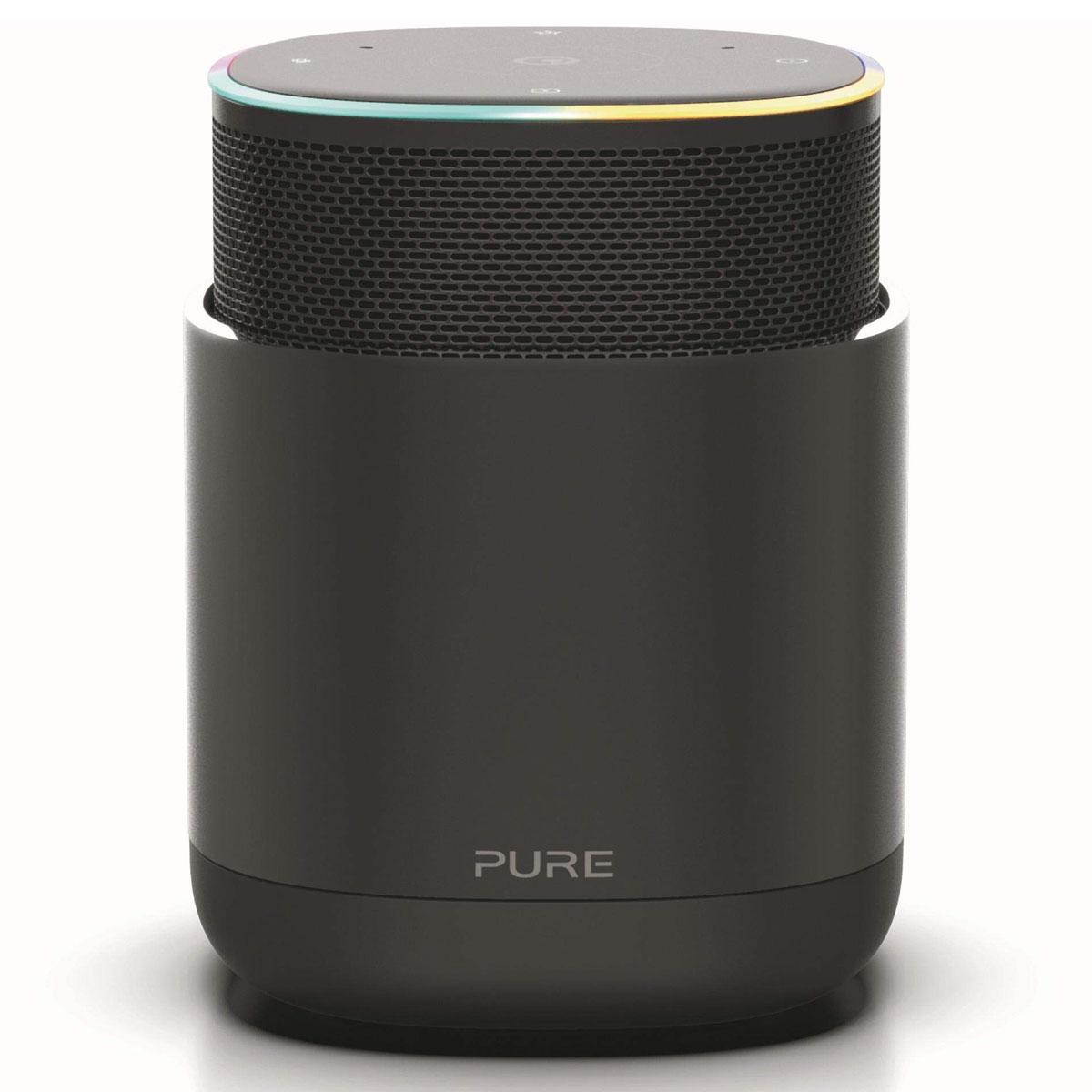 Enceinte Bluetooth Pure DiscovR Noir Enceinte sans fil Wi-Fi et Bluetooth à commande vocale Amazon Alexa avec Spotify Connect, AirPlay 2, Radio Internet et batterie rechargeable