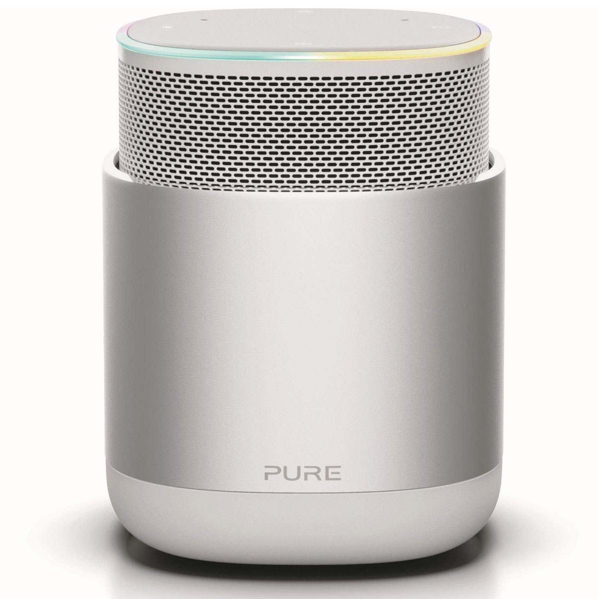 Enceinte Bluetooth Pure DiscovR Argent Enceinte sans fil Wi-Fi et Bluetooth à commande vocale Amazon Alexa avec Spotify Connect, AirPlay 2, Radio Internet et batterie rechargeable