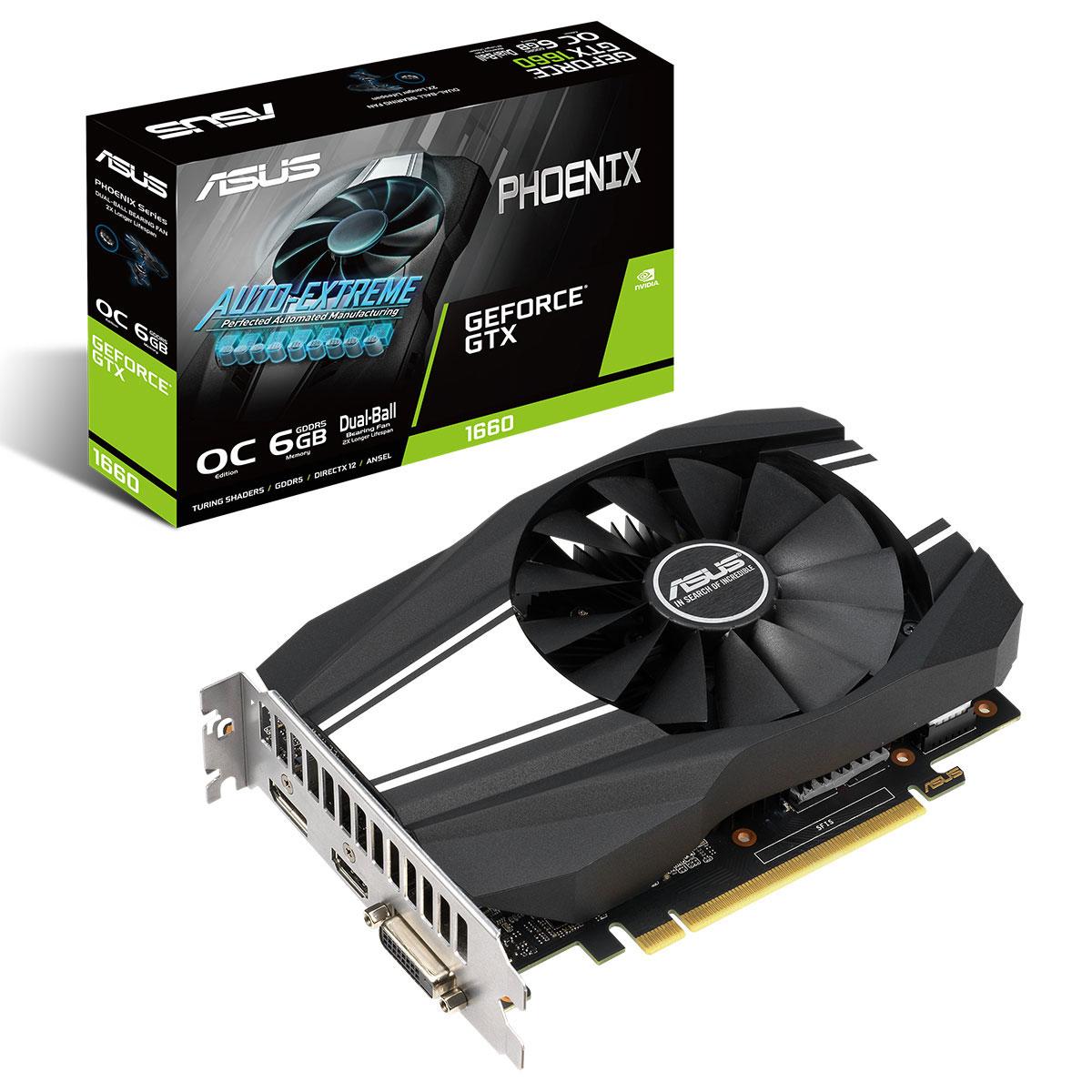 Carte graphique ASUS GeForce GTX 1660 PH-GTX1660-O6G 6 Go GDDR5 - HDMI/DisplayPort/DVI - PCI Express (NVIDIA GeForce GTX 1660)