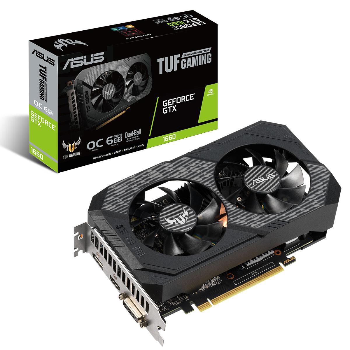 Carte graphique ASUS GeForce GTX 1660 TUF-GTX1660-O6G 6 Go GDDR5 - HDMI/DisplayPort/DVI - PCI Express (NVIDIA GeForce GTX 1660)