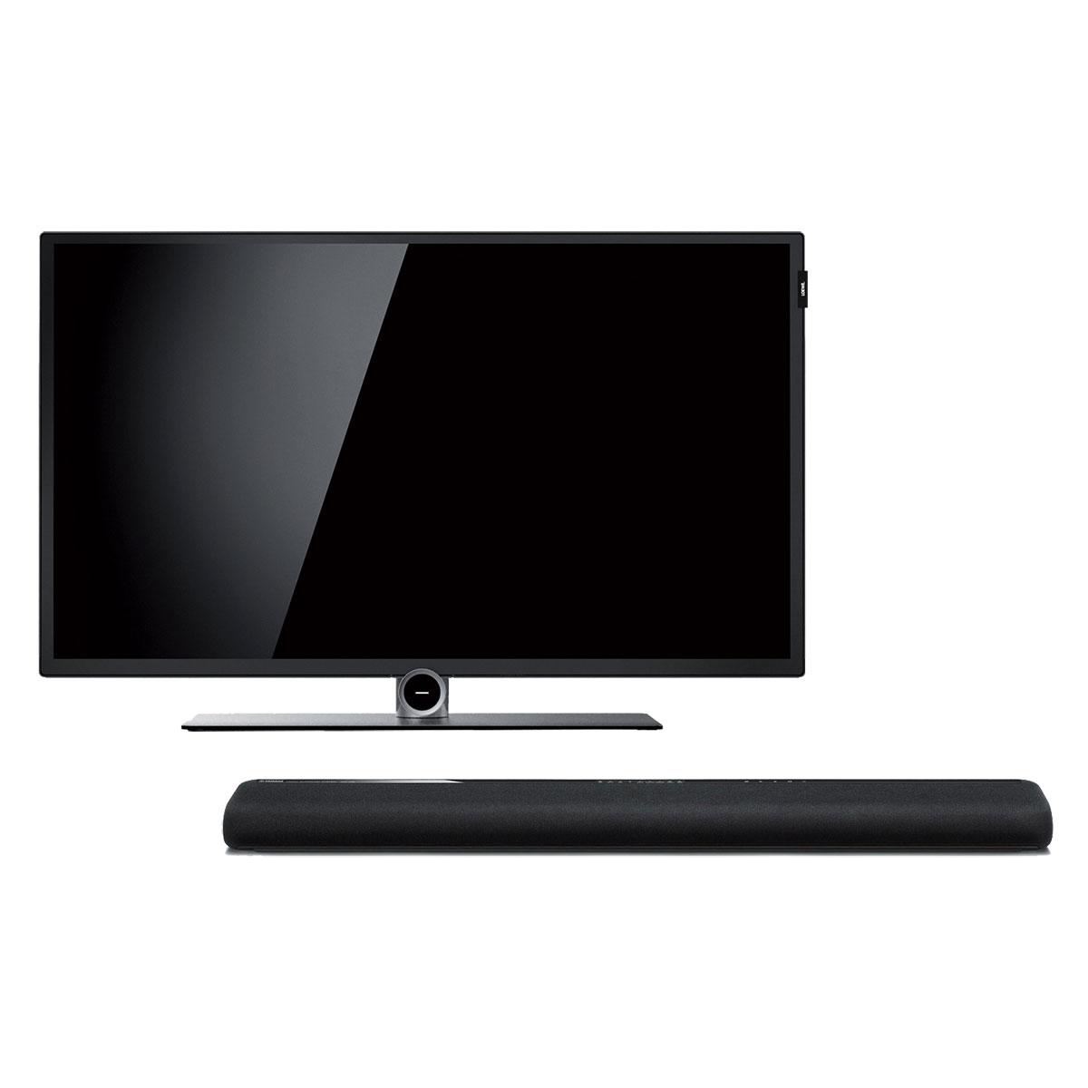 """TV Loewe Bild 1.32 Noir + Yamaha YAS-106 Noir Téléviseur LED Full HD 32"""" (81cm) 16/9 - 1920 x 1080 pixels - HDTV 1080p - Wi-Fi + Barre de son 2.1 - 120 Watts - Dolby/DTS - Bluetooth - HDMI 4K - Subwoofer intégré"""