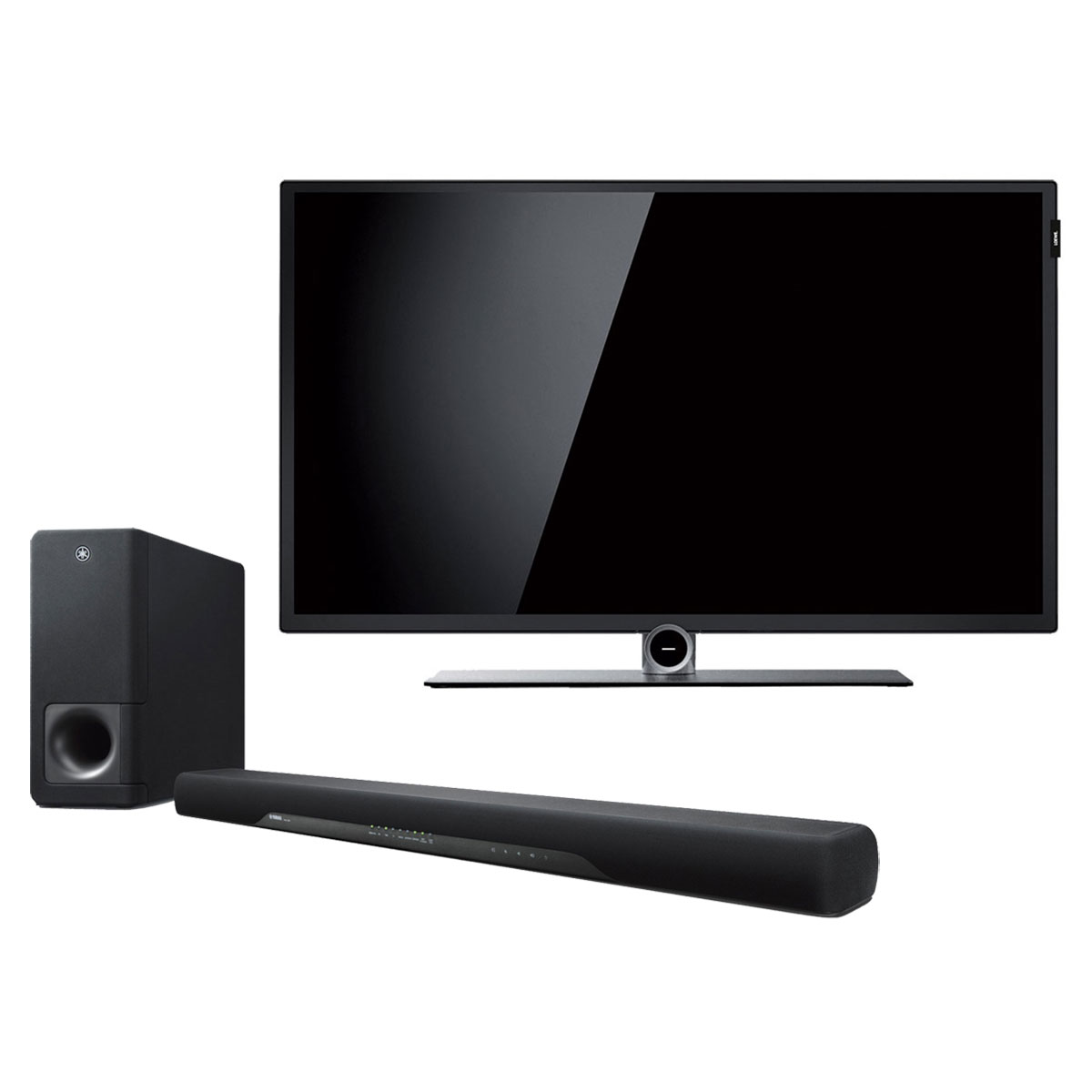 "TV Loewe Bild 1.32 Noir + Yamaha ATS-2070 Téléviseur LED Full HD 32"" (81cm) 16/9 - 1920 x 1080 pixels - HDTV 1080p - Wi-Fi + Barre de son 2.1 avec caisson de basses sans fil - HDMI 2.0 4K Pass Through HDCP 2.2 - Bluetooth"
