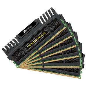 Mémoire PC Corsair Vengeance Series 24 Go (6x 4 Go) DDR3 1600 MHz CL9 Kit Triple Channel 6 barrettes de RAM DDR3 PC12800 - CMZ24GX3M6A1600C9 (garantie 10 ans par Corsair)