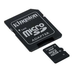 Carte mémoire microSDHC  UHS-I U1 4 Go avec adaptateur SD (garantie à vie par Kingston)