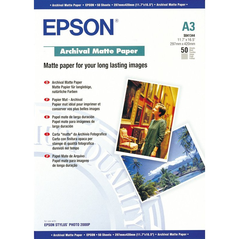 epson c13s041344 papier mat archival a3 50 feuilles. Black Bedroom Furniture Sets. Home Design Ideas