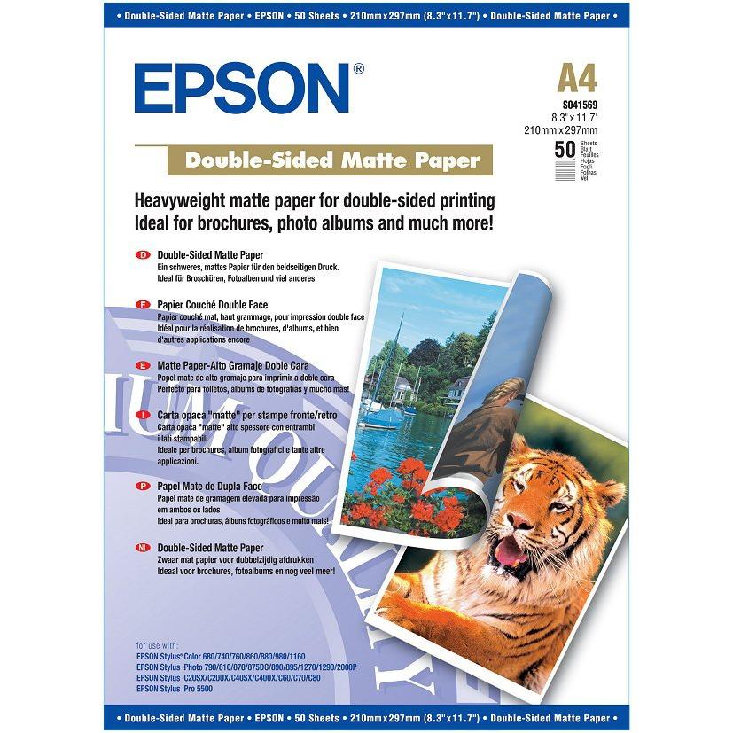 Papier imprimante Epson C13S041569 Epson C13S041569 - Papier couché qualité photo double face A4 (50 feuilles)