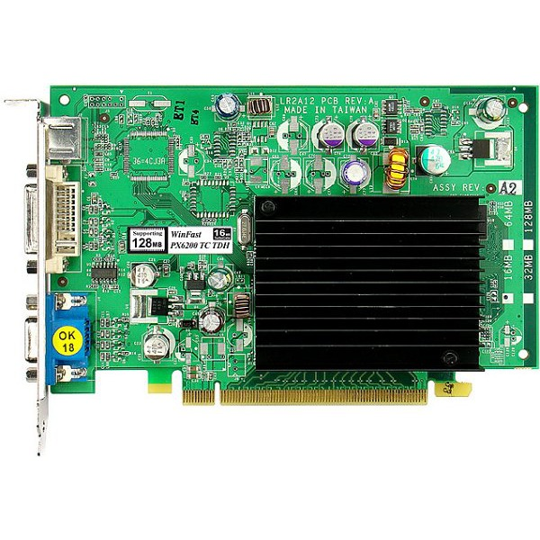 Carte graphique Leadtek WinFast PX6200 TC TDH - 64 Mo Leadtek WinFast PX6200 TC TDH - 64 Mo (jusqu'à 256 Mo adressables) TV-Out/DVI - PCI Express (NVIDIA GeForce 6200)