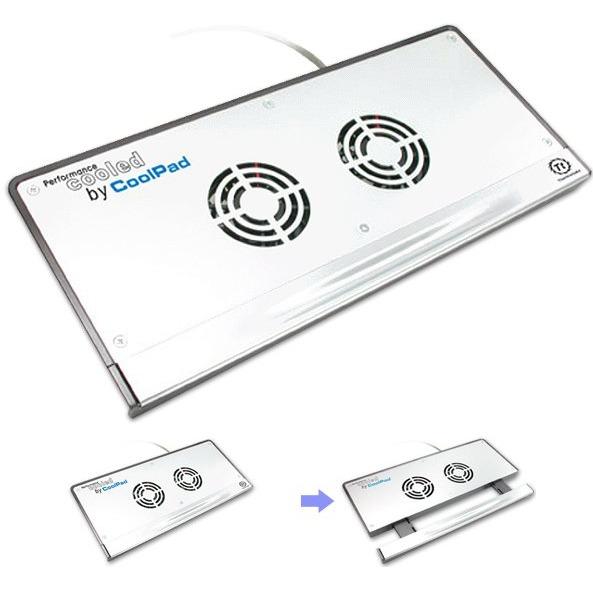 Ventilateur PC portable Thermaltake CoolPad Thermaltake CoolPad - Dispositif de refroidissement (plaque aluminium + 2 ventilateurs 60 mm) extensible pour ordinateur portable (8 à 15 pouces)