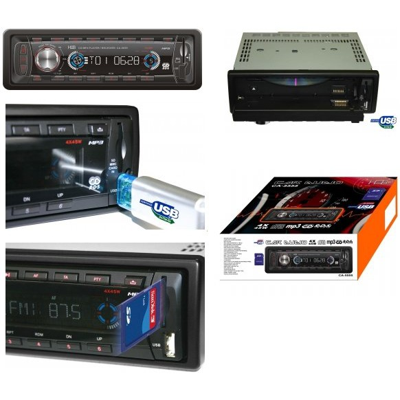 Autoradio H&B CA-5555 H&B CA-5555 - Autoradio MP3 avec Port USB et Slot pour carte mémoire SD/MMC