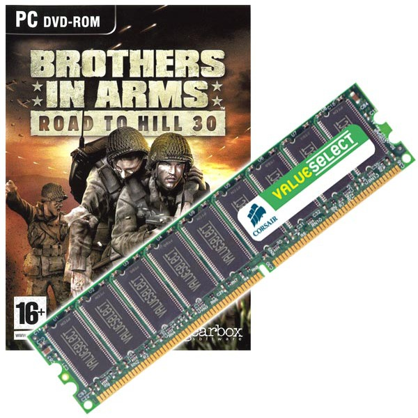 "Mémoire PC Corsair Value 512 Mo DDR-SDRAM PC3200 CL2.5 (garantie à vie par Corsair) + Jeu ""Brothers in Arms"" Corsair Value 512 Mo DDR-SDRAM PC3200 CL2.5 (garantie 10 ans par Corsair)   Jeu ""Brothers in Arms"""