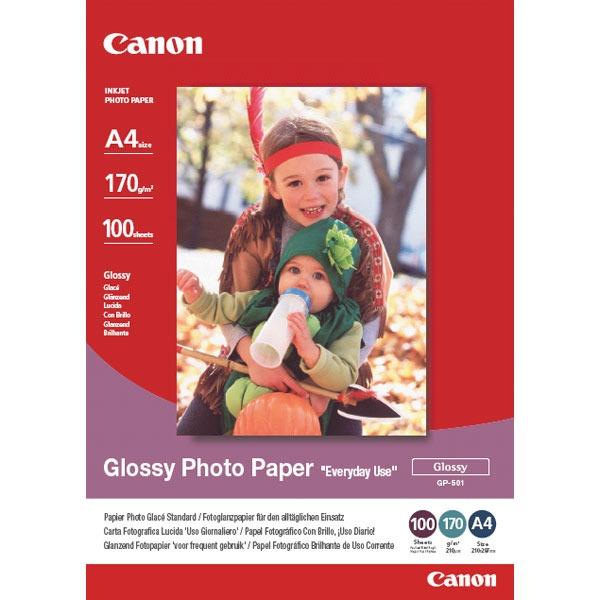 """Papier imprimante Canon GP-501 Canon GP-501 - Papier Photo Glacé """"usage économique"""" A4 (100 feuilles), 210 g"""