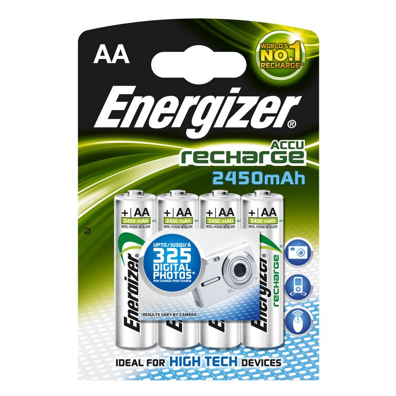 Energizer 4 piles rechargeables aa hr6 2450 mah pile - Pile rechargeable aa ...