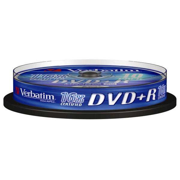 DVD Verbatim DVD+R 4.7 Go 16x (par 10, spindle) Verbatim DVD+R 4.7 Go certifié 16x (pack de 10, spindle)