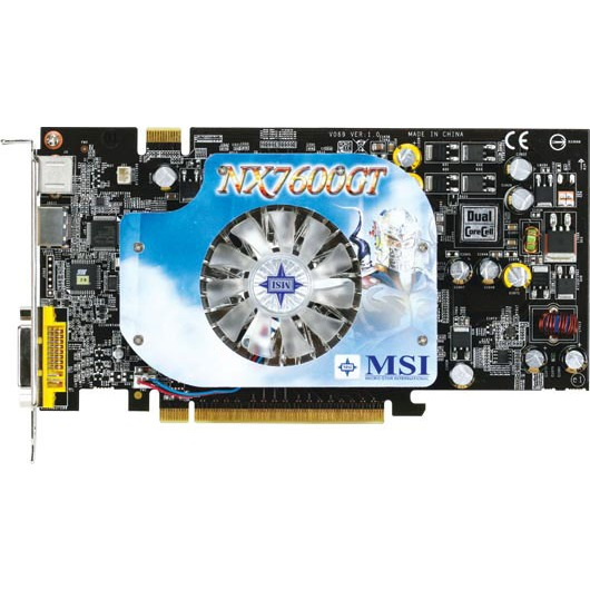 Carte graphique MSI NX7600GT Diamond Plus MSI NX7600GT Diamond Plus - 256 Mo TV-Out/DVI/HDMI - PCI Express (NVIDIA GeForce 7600 GT)