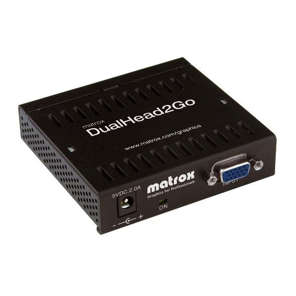 Carte graphique externe Matrox DualHead2Go Analog Edition Module d'extension graphique externe (1 entrée VGA vers 2 sorties VGA)