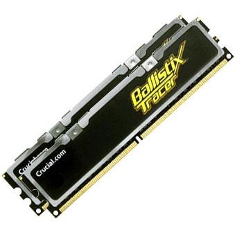 Mémoire PC Ballistix Tracer 2 Go (2x 1Go) DDR2 800 MHz Crucial Ballistix Tracer 2 Go (Kit 2x 1 Go) DDR2-SDRAM PC6400 4-4-4-12 - BL2KIT12864AL80A (garantie 10 ans par Crucial)